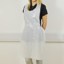 Disposable Plastic White Aprons Flat Packed